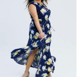 Torrid | NAVY FLORAL TIE FRONT CHALLIS MAXI DRESS